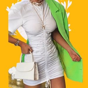 White Adjustable Ruched Detail T-Shirt Dress
